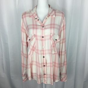Sanctuary Pink and Cream Snap Front Plaid Flannel